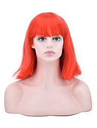 cheap -Synthetic Hair Wigs Straight African American Wig Bob Haircut Party Wig Natural Wigs Cosplay Wig Medium Orange/White/Blue