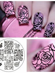 abordables -Fleur rose nail art estampage modèle image plaque né joli bp-73 ongles estampage plaques manucure pochoir ensemble