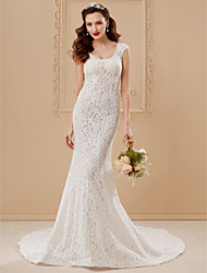 cheap -Mermaid / Trumpet Scoop Neck Chapel Train Lace Wedding Dress with Appliques Lace by LAN TING BRIDE®
