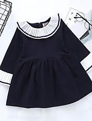 abordables -Robe Fille de Quotidien Couleur Pleine Coton Printemps Manches Longues Mignon Rose Claire Bleu royal