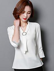 cheap -Women's Work Casual Shirt,Solid Shirt Collar Short Sleeve Cotton