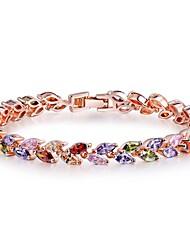 abordables -Femme Rubis synthétique Bracelet - Zircon Forme de Feuille Classique, Bohème, Doux Bracelet Arc-en-ciel Pour Noël / Nouvelle Année