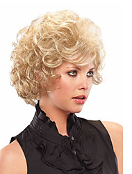 cheap -Synthetic Wig Curly With Bangs Synthetic Hair With Bangs Blonde Wig Short Natural Wigs Capless