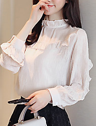 cheap -Women's Polyester Blouse - Solid, Ruffle Boat Neck