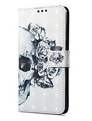 Недорогие -Кейс для Назначение OnePlus 5 / OnePlus 5T Кошелек / Бумажник для карт / со стендом Чехол Черепа Твердый Кожа PU для One Plus 5 / OnePlus 5T