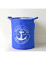 baratos -fivela de âncora azul mediterrânea oxford pano feixe armazenamento balde waterproof hamper dobrável balde de armazenamento