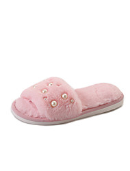 billige -Damer Sko PU Sommer Komfort Sandaler Flade hæle for Sort Grå Lys pink