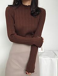 Недорогие -Жен. Длинный рукав Пуловер - Однотонный Воротник-стойка