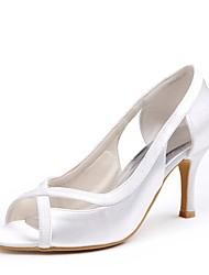 preiswerte -Damen Schuhe Seide Frühling Sommer Pumps Hochzeit Schuhe Niedriger Heel Peep Toe Ausgehöhlt für Hochzeit Party & Festivität Weiß