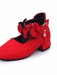 Недорогие -Девочки обувь Нубук Весна Осень Удобная обувь Крошечные Каблуки для подростков Обувь на каблуках для Повседневные Черный Красный Розовый