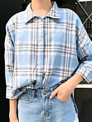 cheap -Women's Casual/Daily Cute Shirt,Check Shirt Collar Long Sleeves Cotton