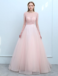 cheap -Ball Gown Bateau Neck Sweep / Brush Train Tulle Prom Formal Evening Dress with Beading Sequins by SG