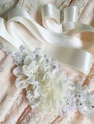 Недорогие -Сатин / атлас Свадьба Особые случаи Кушак With Цветы Жемчужное покрытие Для женщин Пояса и ленты