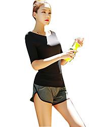 Недорогие -Жен. Совок шеи Бегущая рубашка с шортами - Черный Виды спорта Верхняя часть Йога, Фитнес, Для спортивного зала Рукав до локтя Спортивная одежда / Быстровысыхающий / С защитой от ветра