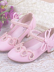 cheap -Girls' Shoes PU Spring Fall Tiny Heels for Teens Flower Girl Shoes Comfort Heels for Casual Gold White Pink