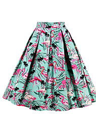 cheap -Women's Daily Going out Above Knee Skirts,Casual Active A Line Cotton Floral Print Animal Print All Seasons