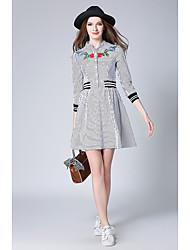 baratos -Feminino Camisa Vestido,Para Noite Casual Simples Listrado Decote V Acima do Joelho Manga Comprida Algodão Primavera Outono Cintura Alta