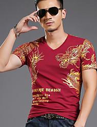 preiswerte -Herren Druck Street Schick Andere T-shirt,V-Ausschnitt Herbst Kurzarm Baumwolle