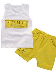 cheap -Boys' Daily Print Clothing Set,Polyester All Seasons Sleeveless Casual Light Blue Light Green Yellow