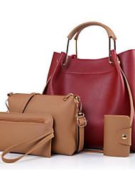 baratos -Mulheres Bolsas PU Conjuntos de saco Conjunto de bolsa de 4 pcs Ziper Verde Tropa / Bege / Vinho