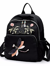 cheap -Women Bags Nylon Backpack Embroidery for Casual All Season Black