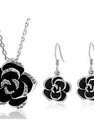 cheap -Women's Jewelry Set - Imitation Diamond Flower Sweet Include Drop Earrings / Necklace Silver For Daily