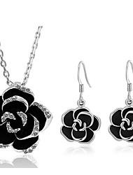 baratos -Mulheres Gema Imitações de Diamante Flor Conjunto de jóias 1 Colar / Brincos - Doce Prata Brincos Compridos / Colar Para Diário