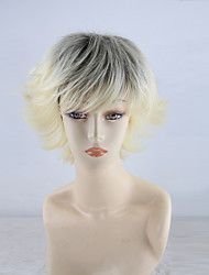 cheap -Synthetic Wig Curly With Bangs Density Capless White Party Wig Natural Wigs Short Synthetic Hair