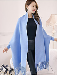 cheap -Women's Daily Wear Long Shrug,Solid One Shoulder Sleeveless Wool Winter Fall Thick Micro-elastic