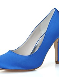 preiswerte -Damen Schuhe Satin Frühling Sommer Pumps Hochzeit Schuhe Stöckelabsatz Runde Zehe für Hochzeit Party & Festivität Weiß Blau