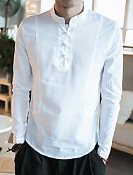 Недорогие -Муж. Повседневные Рубашка, Воротник-стойка На каждый день Однотонный Длинный рукав Другое