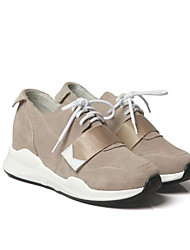 cheap -Women's Shoes Cowhide Spring Fall Comfort Sneakers Low Heel for Casual Black Green Light Brown