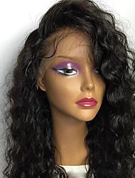Недорогие -Натуральные волосы Бесклеевая сплошная кружевная основа Полностью ленточные Парик Стрижка каскад С чёлкой Бразильские волосы Кудрявый Парик 130% Плотность волос / Природные волосы / Необработанные