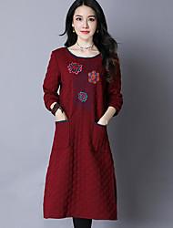 abordables -Femme Coton Ample Robe - Imprimé Midi / Automne / Hiver