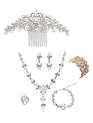 cheap -Women's Jewelry Set - Imitation Pearl, Imitation Diamond Flower European, Fashion Include Hair Combs / Bridal Jewelry Sets White For Wedding / Party