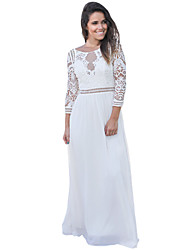 cheap -Women's Party Sexy Lace Dress,Solid Round Neck Maxi 3/4 Sleeve Polyester Spandex Winter High Waist Micro-elastic Opaque