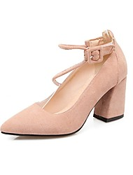 preiswerte -Damen Schuhe maßgeschneiderte Werkstoffe Frühling Herbst Pumps High Heels Blockabsatz Spitze Zehe Geschlossene Spitze für Normal Rosa