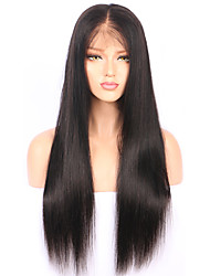 cheap -Human Hair Lace Front Wig / Glueless Lace Front Wig Peruvian Hair Straight With Baby Hair 130% Density Natural Hairline / Unprocessed Women's Short / Medium Length / Long Human Hair Lace Wig