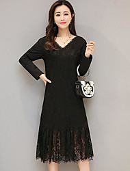 cheap -Women's Casual/Daily Simple Lace Dress,Solid V Neck Above Knee Long Sleeve Cotton Spring Fall Mid Rise Micro-elastic Opaque