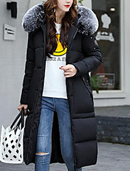 cheap -Women's Long Down Coat,Street chic Daily Going out Solid-Cotton Polypropylene Long Sleeves