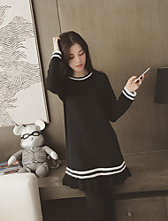 cheap -Women's Daily Casual Sweater Dress,Striped Stand Above Knee Long Sleeve Polyester Winter Fall Mid Rise Micro-elastic Opaque