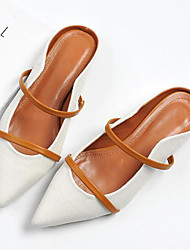 cheap -Women's Shoes Real Leather Spring Fall Comfort Clogs & Mules Low Heel for Casual Black White