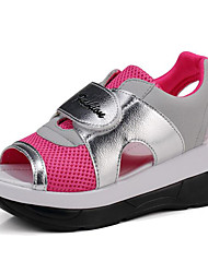 cheap -Shoes PU Spring Fall Comfort Sandals Wedge Heel for Casual Outdoor Gray Fuchsia Blue Black/White