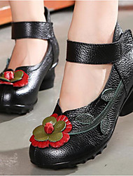 preiswerte -Damen Schuhe Nappaleder Leder Frühling Herbst Komfort High Heels Blockabsatz für Normal Schwarz Grau Rot