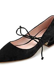 preiswerte -Damen Schuhe Samt Frühling Komfort High Heels Blockabsatz Spitze Zehe / Geschlossene Spitze Schwarz / Blau / Rosa