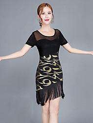 cheap -Latin Dance Dresses Women's Performance Spandex Split Joint Tassel Short Sleeve Natural Dress