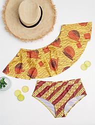 cheap -Women's Floral Floral Ruffle Bandeau Bikini Swimwear Yellow