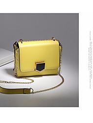 baratos -Mulheres Bolsas Couro de Gado Bolsa de Ombro Botões para Casual Todas as Estações Preto Laranja Rosa Amarelo