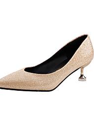 Недорогие -Жен. Полиуретан Весна Удобная обувь Обувь на каблуках На шпильке Заостренный носок Черный / Серебряный / Красный