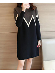 cheap -Women's Casual/Daily Simple Sweater Dress,Print Round Neck Above Knee Long Sleeve Cotton Fall Mid Rise Micro-elastic Opaque
